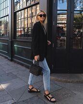 jacket,black blazer,mango,cropped jeans,mom jeans,flat sandals,black bag,zara,striped top