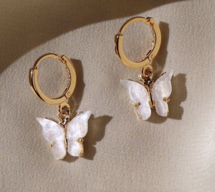 jewels earrings gold butterfly