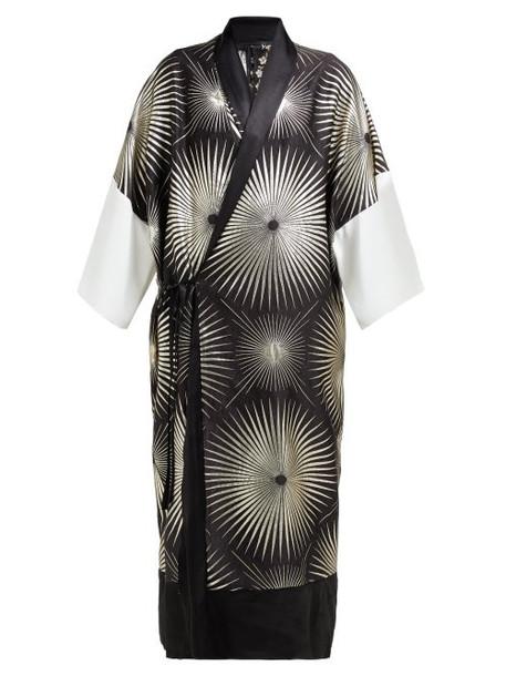 Haider Ackermann - Sunburst Silk Blend Jacquard Kimono Opera Coat - Womens - Black