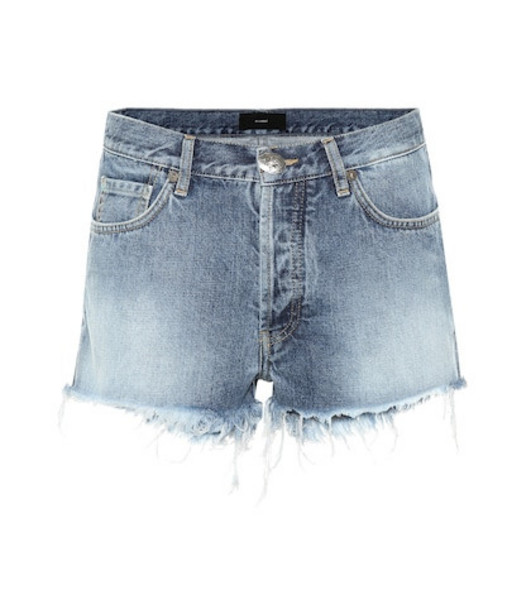 Alanui Mid-rise denim shorts in blue
