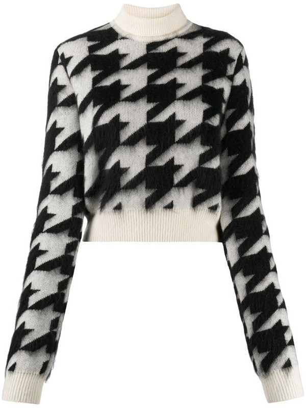 Nina Ricci cropped houndstooth knit jumper in white