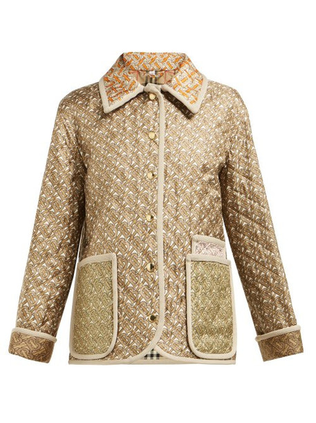 Burberry - Monogram Print Single Breasted Quilted Silk Jacket - Womens - Beige Multi