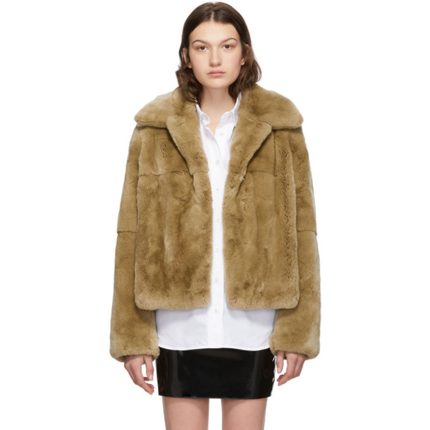 Yves Salomon Tan Rex Rabbit Fur Short Jacket