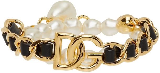 Dolce & Gabbana Gold Pearl & Leather Embellished Bracelet
