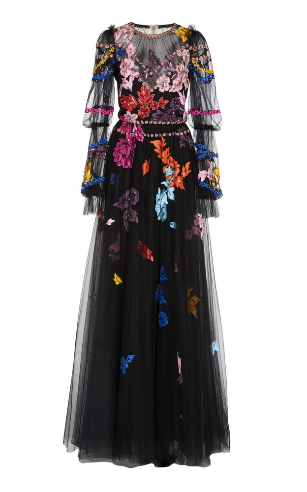 Monique Lhuillier Embroidered Puff Sleeve Gown in black