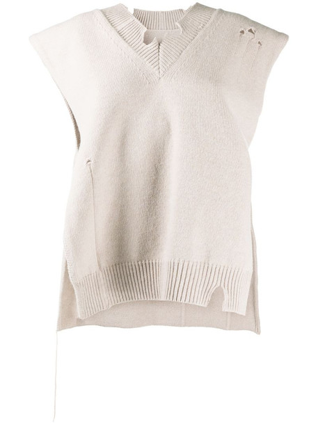 Maison Margiela distressed v-neck knitted vest in neutrals