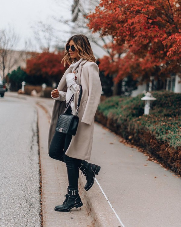 coat long coat black boots ankle boots black skinny jeans black bag white sweater turtleneck sweater
