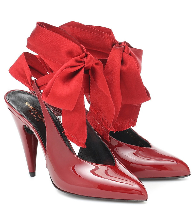 Saint Laurent Kika patent leather slingback pumps in red