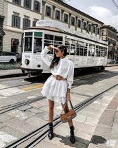 dress,white dress,mini dress,lace dress,black boots,ankle boots,bag