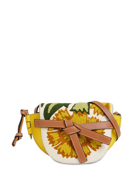 LOEWE Gate Mini Floral & Leather Bag in yellow