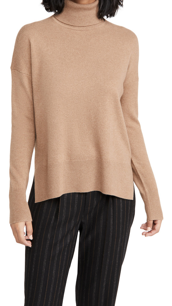 Theory Karenia Cashmere Turtleneck in camel