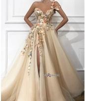 dress,flowers,tan,prom dress