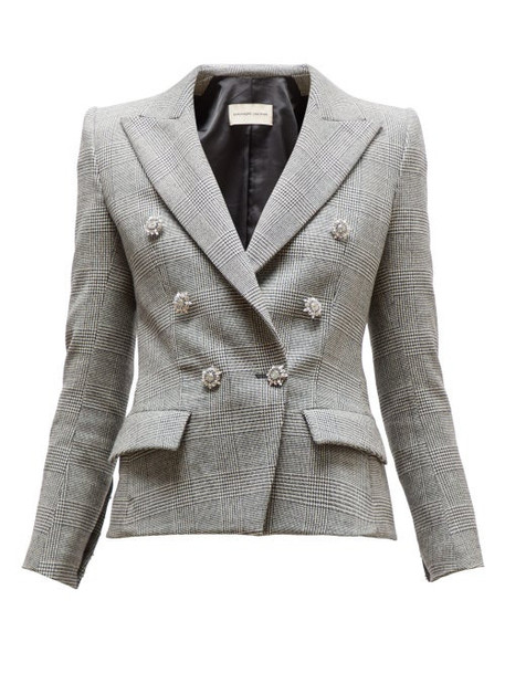 Alexandre Vauthier - Double Breasted Crystal Button Jacket - Womens - Grey Multi