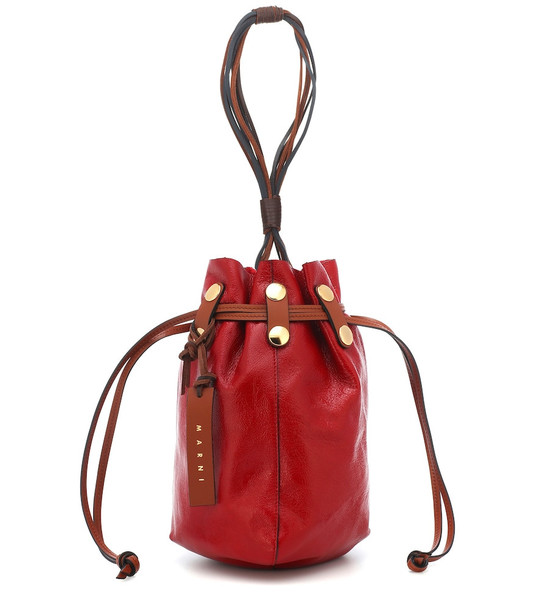 Marni Bindle leather clutch in red