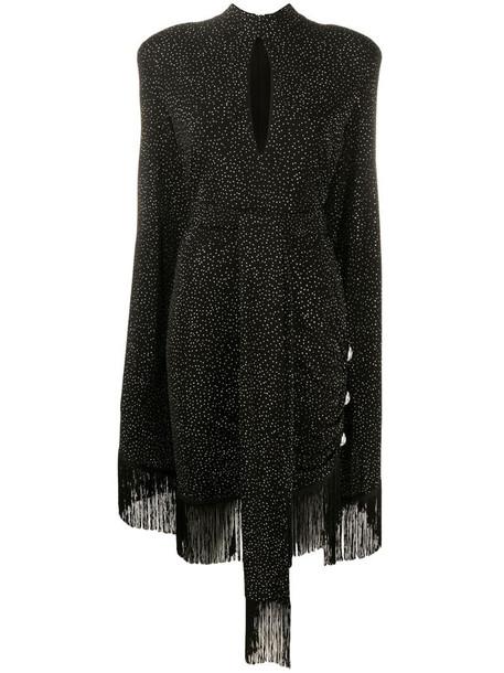 Balmain crystal-studded fringe dress in black