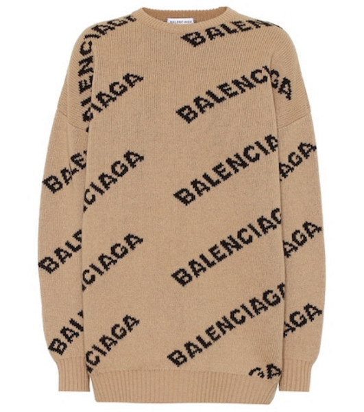 Balenciaga Allover Logo wool-blend sweater in beige