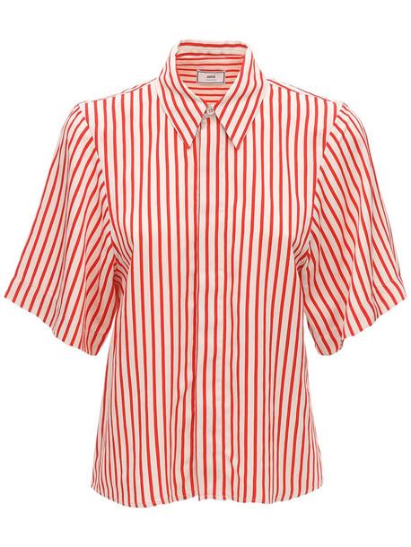 AMI ALEXANDRE MATTIUSSI Striped Viscose Short Sleeve Shirt in ivory / red