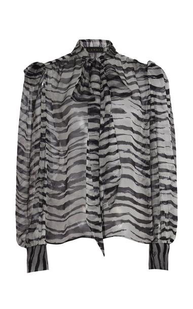 Dundas Tiger Print Scarf Neck Top in black / white