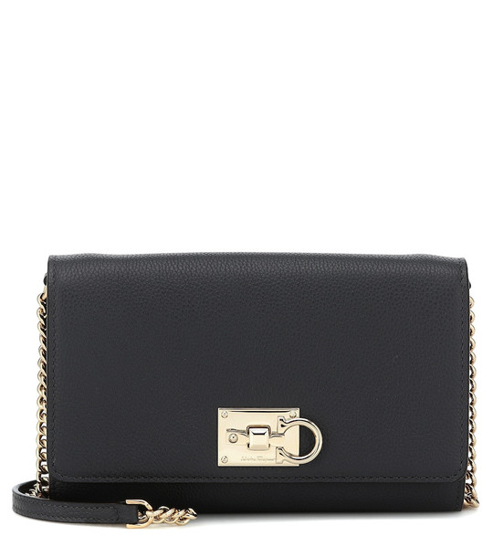 Salvatore Ferragamo Studio leather clutch in grey