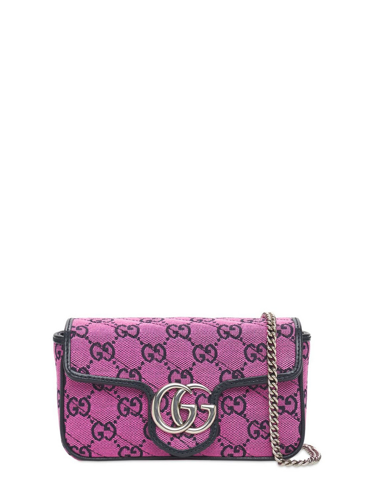 GUCCI Gg Marmont Multicolor Canvas Bag in blue / pink