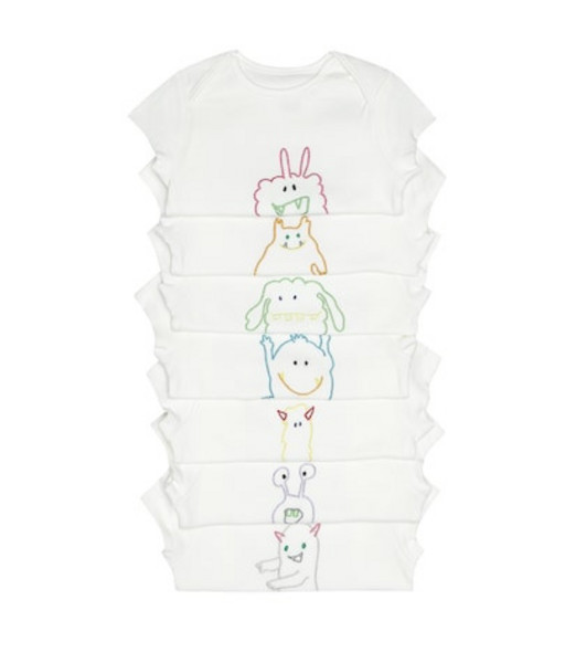 Stella McCartney Kids Pack of 7 cotton bodysuits in white