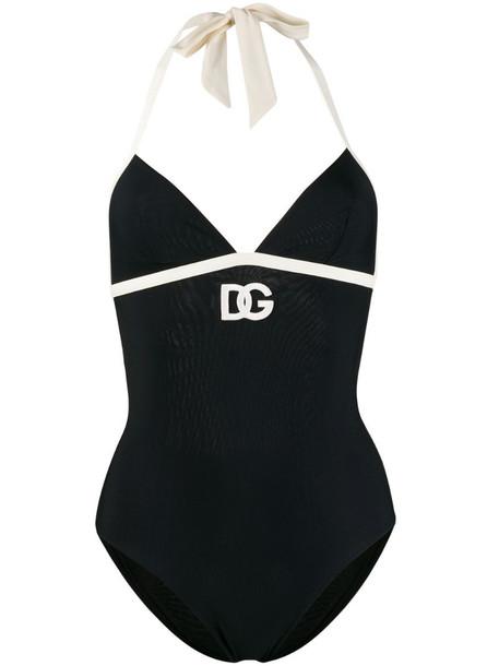 Dolce & Gabbana embroidered DG logo swimsuit in black