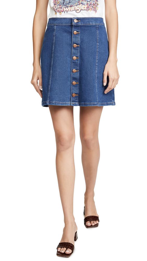 Wrangler Button Front Miniskirt in blue