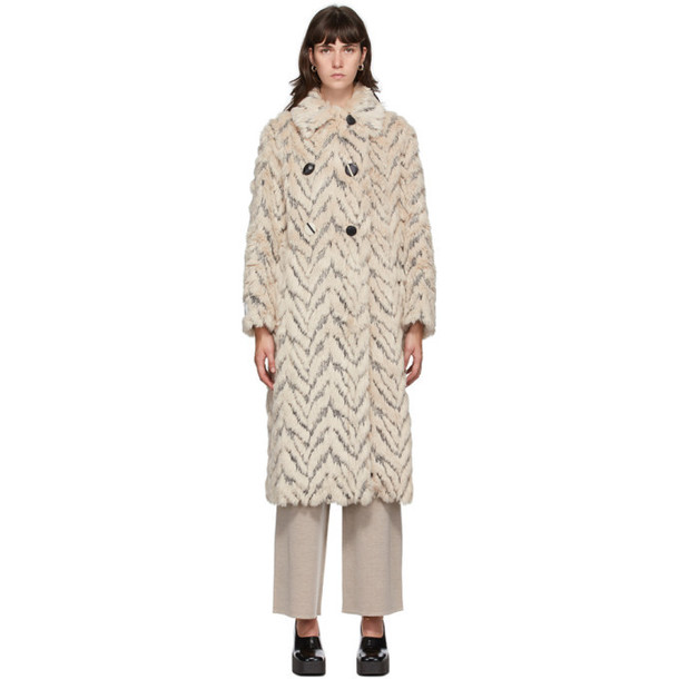 Stella McCartney Beige Kira Furry Double-Breasted Coat