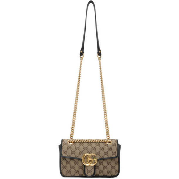 Gucci Beige and Black GG Marmont Bag