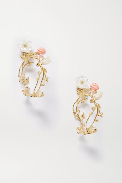 Of Rare Origin - Flower Whirl Gold Vermeil Multi-stone Earrings