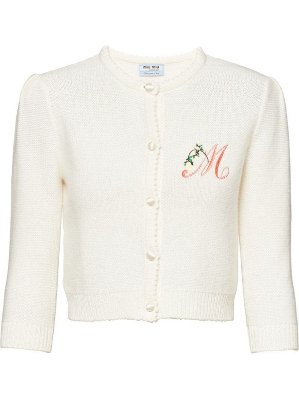 Miu Miu Once Upon a Time embroidered cardigan in white