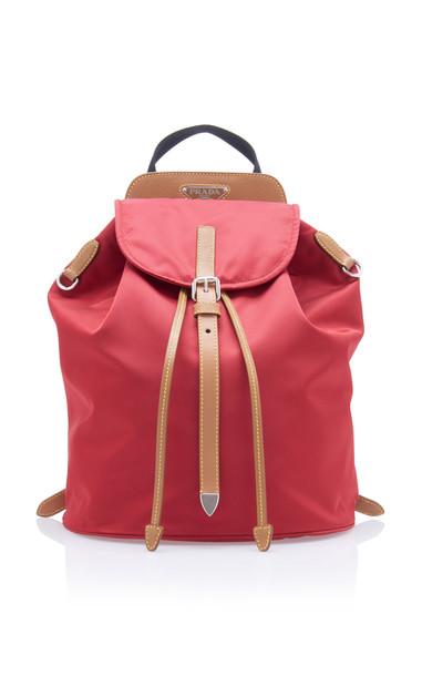 Prada Vela Tri-Color Nylon Backpack in red