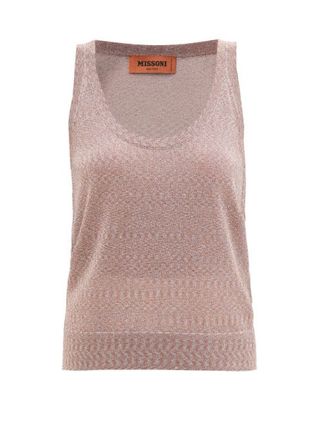 Missoni - Metallic-knit Tank Top - Womens - Light Pink