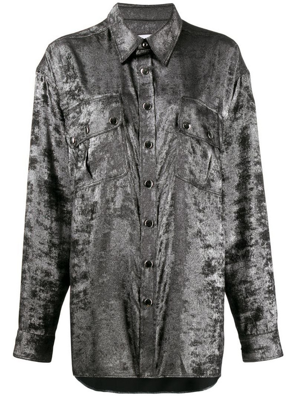 Faith Connexion oversized chest pocket shirt in silver