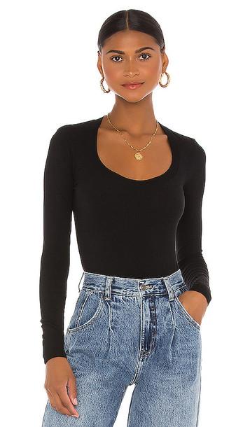 Enza Costa Brushed Supima Cotton Long Sleeve Horseshoe Bodysuit in Black