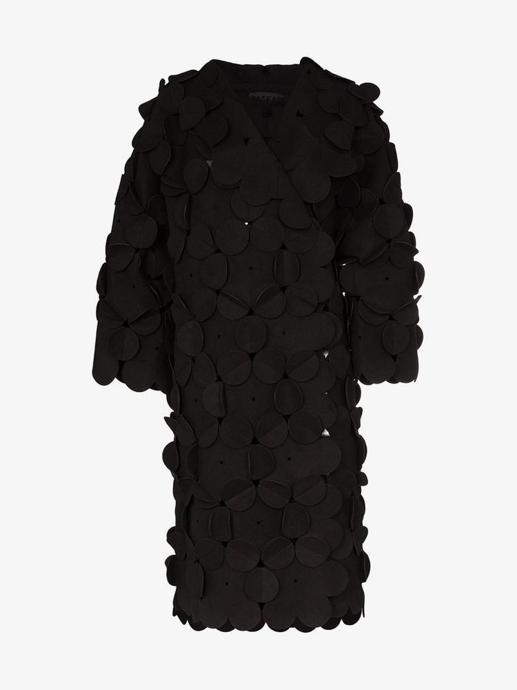 Paskal Hooded mid-length wool blend jacket in black