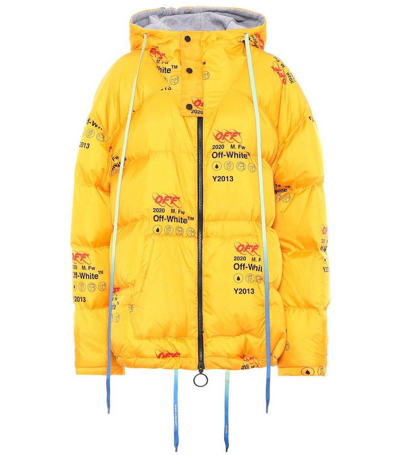 Off-White Printed down jacket in yellow