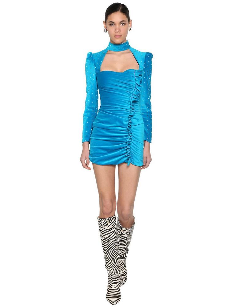 GIUSEPPE DI MORABITO Beaded Velvet Mini Dress W/ Ruffles in blue