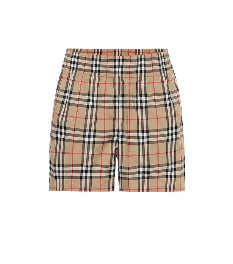 Burberry High-rise stretch-cotton shorts in beige