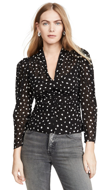 Rebecca Taylor Long Sleeve Dot V Neck Top in black