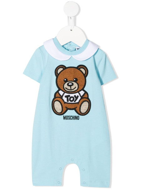 Moschino Kids teddy embroidery stretch-cotton romper - Blue