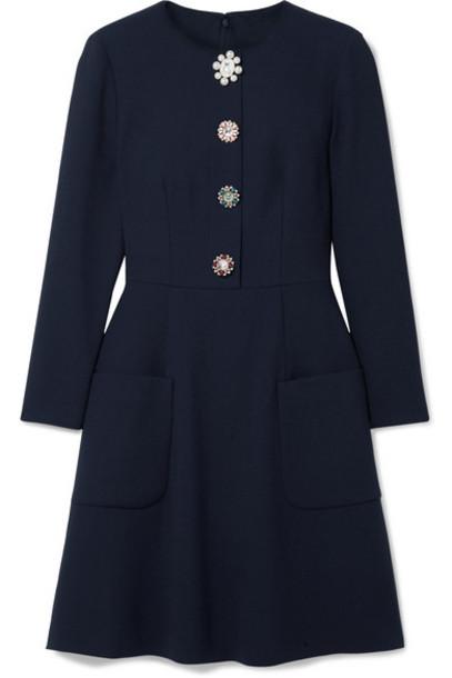 Lela Rose - Embellished Wool-blend Crepe Dress - Midnight blue