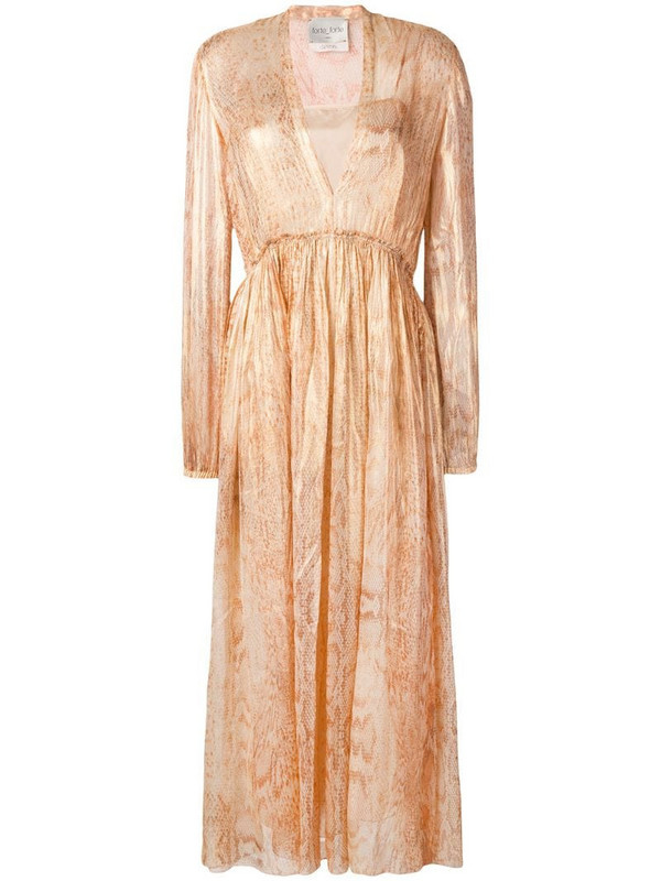 Forte Forte snakeskin print layered dress in gold