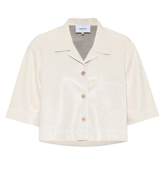 Nanushka Rhett cropped faux-leather shirt in white