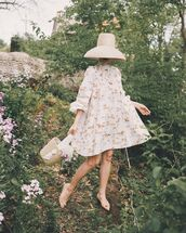 shoes,flats,mini dress,long sleeve dress,white dress,bucket bag,hat