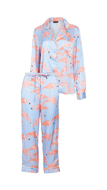 Karen Mabon Flamingo Flock Pajama Set in blue