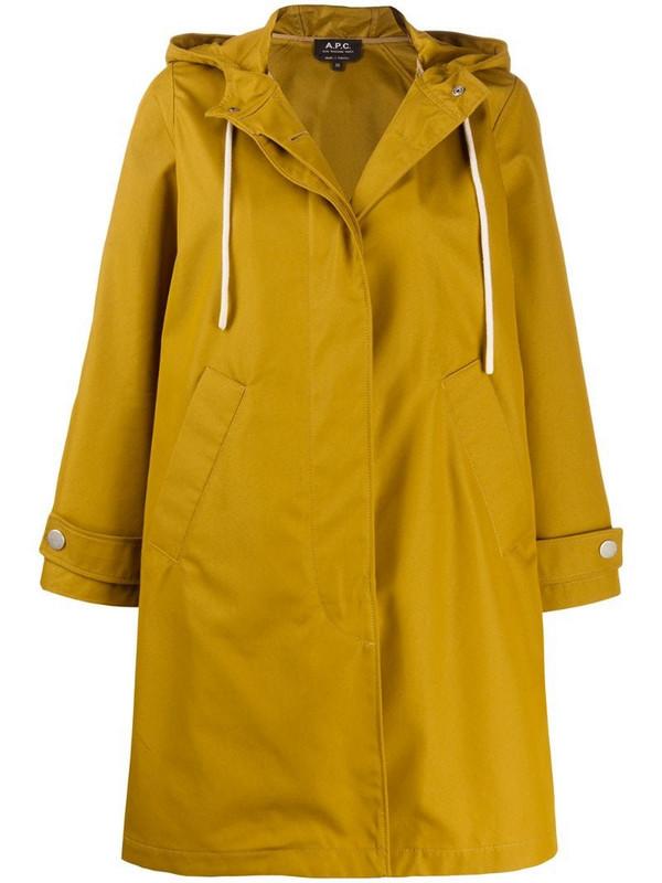 A.P.C. drawstring hood rain coat in yellow