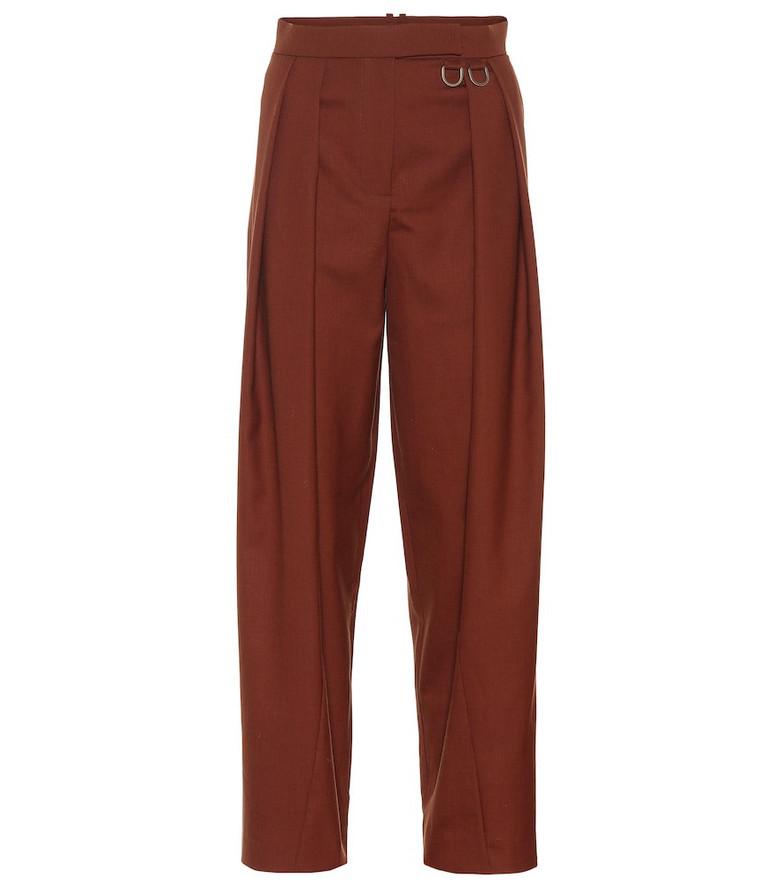 Rejina Pyo Riley high-rise straight wool pants in brown