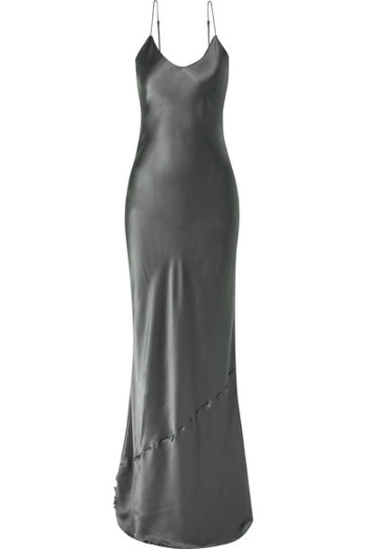 Nili Lotan - Silk-satin Gown - Dark gray