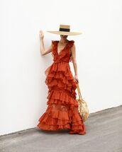 dress,maxi dress,ruffle dress,layered,silk dress,orange dress,shoulder bag,fringes,felt hat